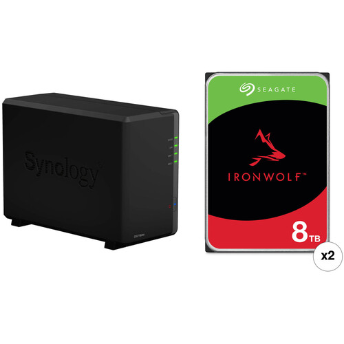 Synology DiskStation 16TB DS218play 2-Bay NAS Enclosure Kit with Seagate NAS Drives (2 x 8TB)
