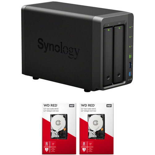 Synology DiskStation 16TB DS718+ 2-Bay NAS Enclosure Kit with WD NAS Drives (2 x 8TB)