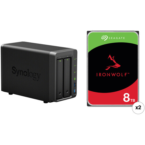 Synology DiskStation 16TB DS718+ 2-Bay NAS Enclosure Kit with Seagate NAS Drives (2 x 8TB)
