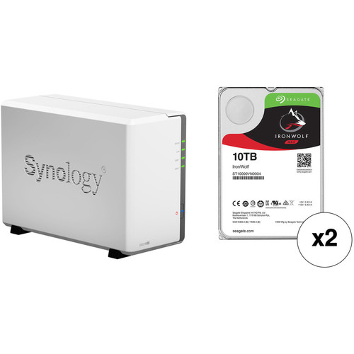 Synology DiskStation 20TB DS216se 2-Bay NAS Enclosure Kit with Seagate NAS Drives (2 x 10TB)