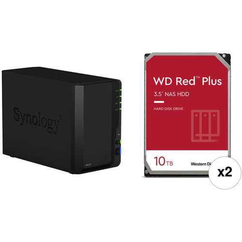 Synology DiskStation 20TB DS218 2-Bay NAS Enclosure Kit with WD NAS Drives (2 x 10TB)