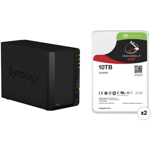 Synology DiskStation 20TB DS218 2-Bay NAS Enclosure Kit with Seagate NAS Drives (2 x 10TB)