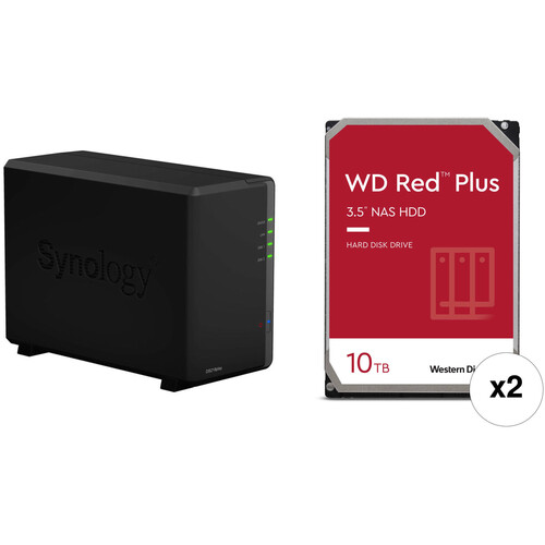 Synology DiskStation 20TB DS218play 2-Bay NAS Enclosure Kit with WD NAS Drives (2 x 10TB)