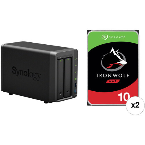 Synology DiskStation 20TB DS718+ 2-Bay NAS Enclosure Kit with Seagate NAS Drives (2 x 10TB)