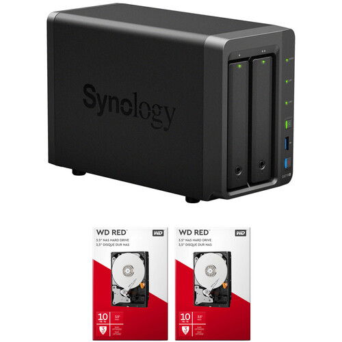Synology DiskStation 20TB DS718+ 2-Bay NAS Enclosure Kit with WD NAS Drives (2 x 10TB)