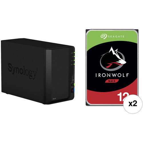 Synology DiskStation 24TB DS218 2-Bay NAS Enclosure Kit with Seagate NAS Drives (2 x 12TB)