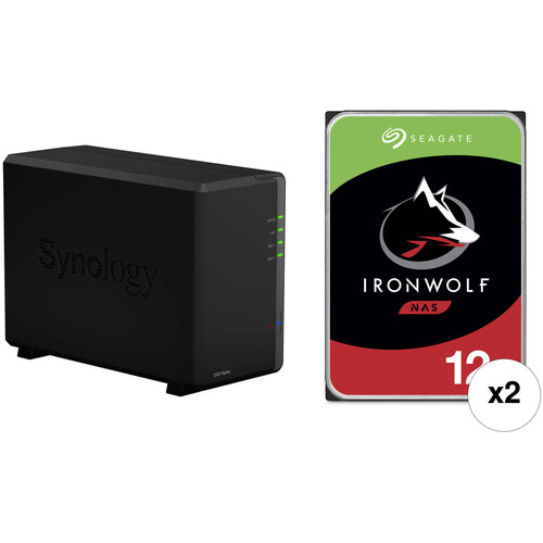 Synology DiskStation 24TB DS218play 2-Bay NAS Enclosure Kit with Seagate NAS Drives (2 x 12TB)