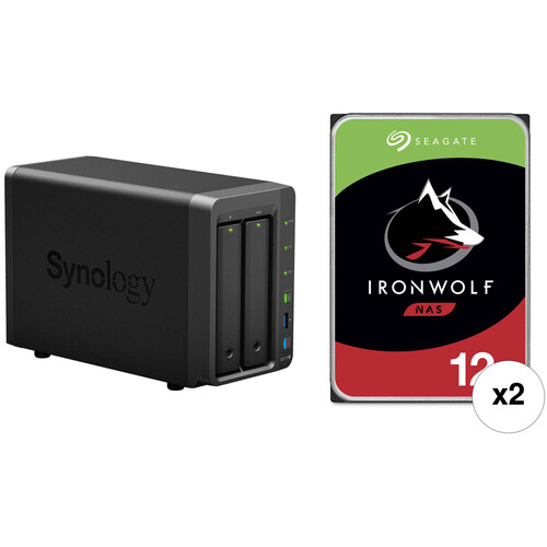 Synology DiskStation 24TB DS718+ 2-Bay NAS Enclosure Kit with Seagate NAS Drives (2 x 12TB)