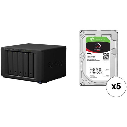 Synology DiskStation 30TB DS1517+ 5-Bay NAS Enclosure Kit with Seagate NAS Drives (5 x 6TB)