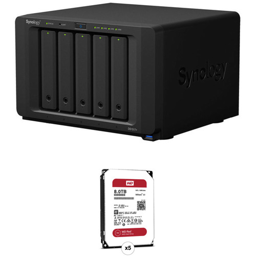 Synology DiskStation 40TB DS1517+ 5-Bay NAS Enclosure Kit with WD NAS Drives (5 x 8TB)