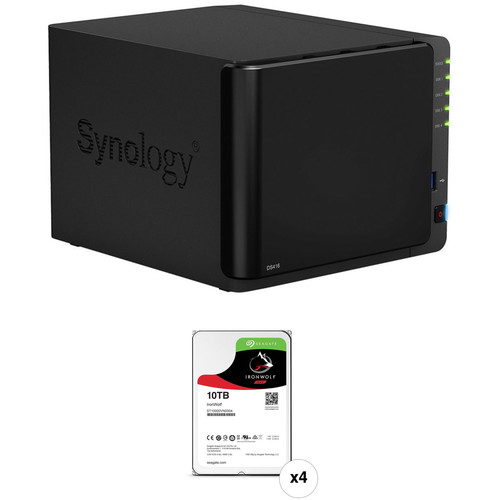 Synology DiskStation 40TB DS416 4-Bay NAS Server Kit (4 x 10TB)