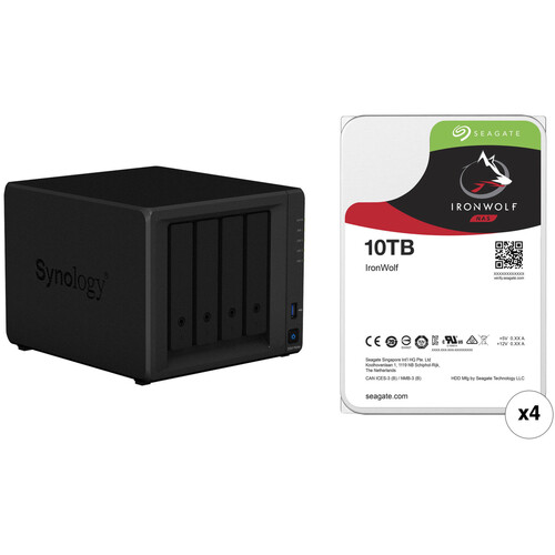 Synology DiskStation 40TB DS418play NAS Enclosure Kit with Seagate NAS Drives (4 x 10TB)