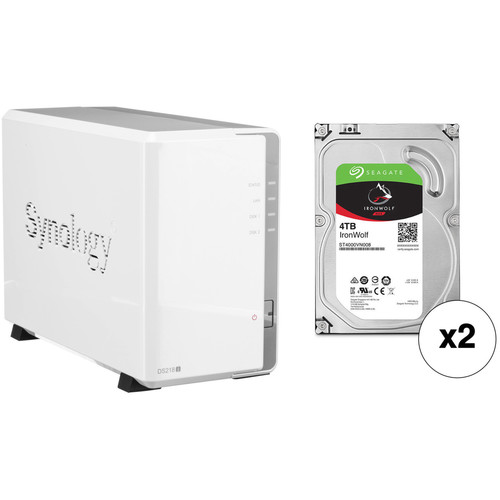 Synology DiskStation 8TB DS218j 2-Bay NAS Enclosure Kit with Seagate NAS Drives (2 x 4TB)