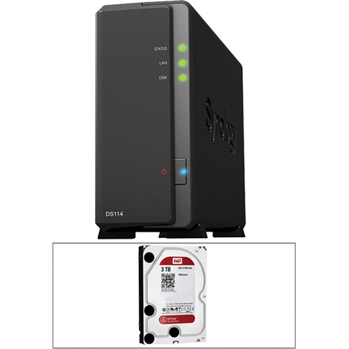 Synology 3TB (1 x 3TB) DS114 Compact Single Bay NAS Server Kit with Drive