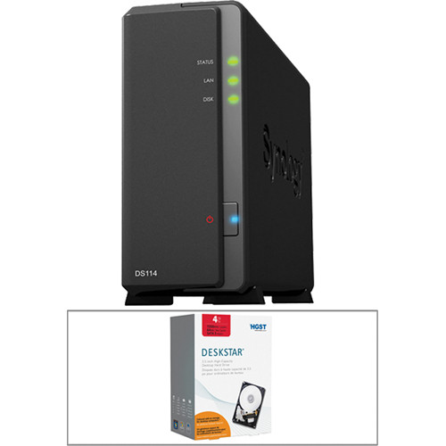 Synology 4TB (1 x 4TB) DS114 Compact Single Bay NAS Server Kit with Drive
