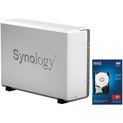 Synology DiskStation DS115j 5TB (1 x 5TB) Single Bay NAS Server Kit with WD Red Drives