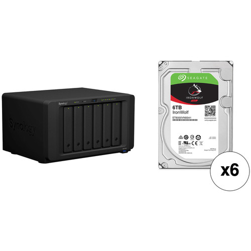 Synology DiskStation DS1618+ 36TB 6-Bay NAS Enclosure Kit with Seagate NAS Drives (6 x 6TB)