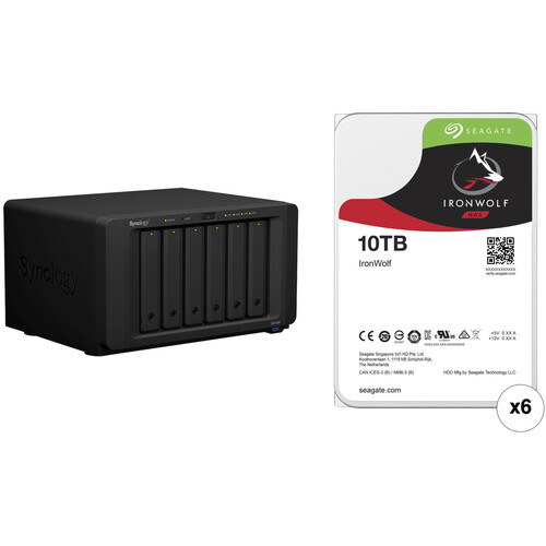 Synology DiskStation DS1618+ 60TB 6-Bay NAS Enclosure Kit with Seagate NAS Drives (6 x 10TB)