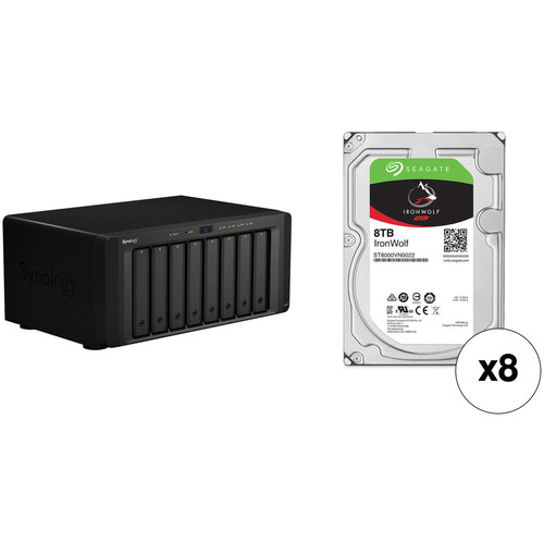 Synology DiskStation DS1817 64TB 8-Bay NAS Enclosure Kit with Seagate NAS Drives (8 x 8TB)