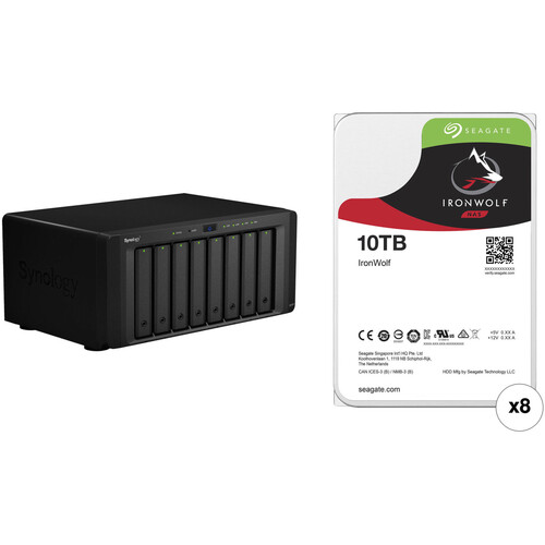 Synology DiskStation DS1817 80TB 8-Bay NAS Enclosure Kit with Seagate NAS Drives (8 x 10TB)