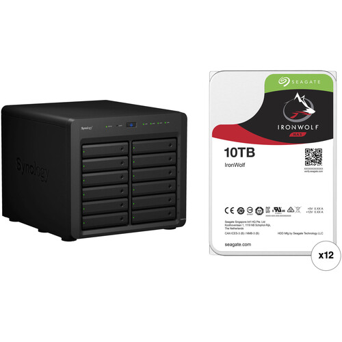 Synology DiskStation DS3617xs 120TB 12-Bay NAS Enclosure Kit with Seagate NAS Drives (12 x 10TB)