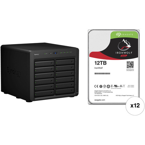 Synology DiskStation DS3617xs 144TB 12-Bay NAS Enclosure Kit with Seagate NAS Drives (12 x 12TB)