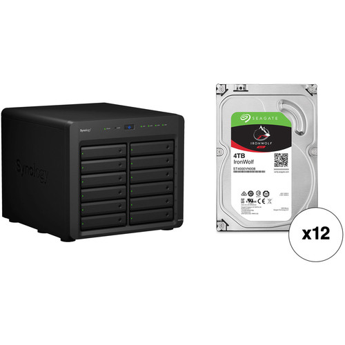 Synology DiskStation DS3617xs 48TB 12-Bay NAS Enclosure Kit with Seagate NAS Drives (12 x 4TB)