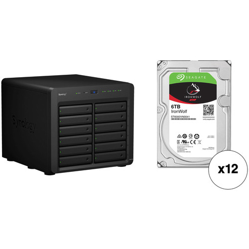 Synology DiskStation DS3617xs 72TB 12-Bay NAS Enclosure Kit with Seagate NAS Drives (12 x 6TB)