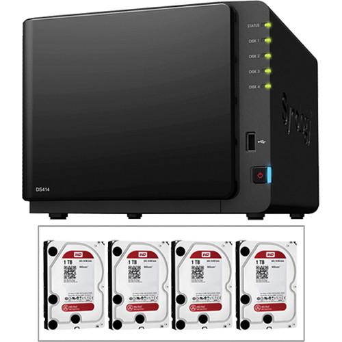 Synology 4TB (4 x 1TB) DS414 Diskless 4-Bay SMB & SOHO NAS Server Kit with Drives