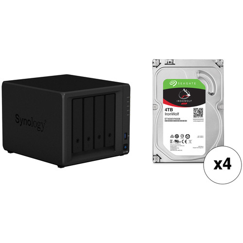 Synology DiskStation 16TB DS918+ 4-Bay NAS Enclosure Kit with Seagate NAS Drives (4 x 4TB)