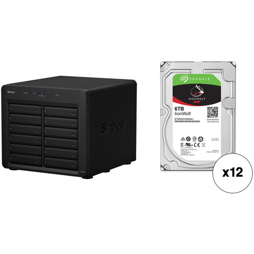 Synology DX1215 72TB 12-Bay NAS Expansion Unit Kit with Seagate NAS Drives (12 x 6TB)