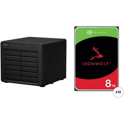 Synology DX1215 96TB 12-Bay NAS Expansion Unit Kit with Seagate NAS Drives (12 x 8TB)