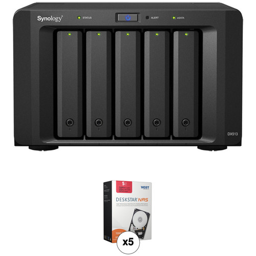 Synology 25TB (5 x 5TB) Synology DiskStation DX513 5-Bay Expansion Unit with HGST Deskstar HDDs