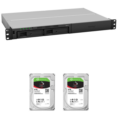 Synology RackStation 12TB RS217 2-Bay NAS Enclosure Kit with Seagate NAS Drives (2 x 6TB)