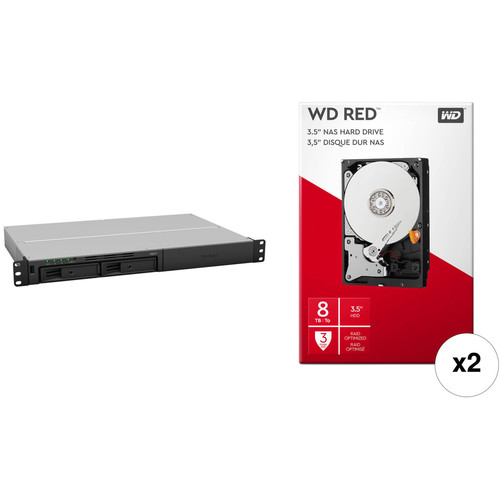 Synology RackStation 16TB RS217 2-Bay NAS Enclosure Kit with WD NAS Drives (2 x 8TB)