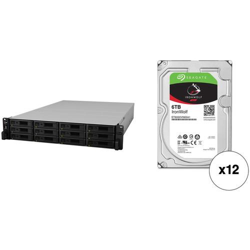 Synology RackStation RS18017xs+ 72TB 12-Bay NAS Enclosure Kit with Seagate NAS Drives (12 x 6TB)