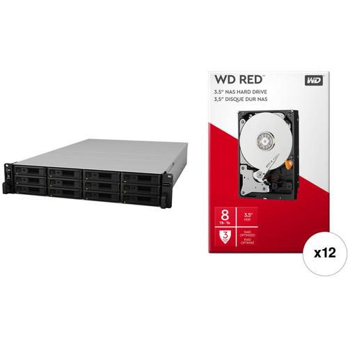 Synology RackStation RS18017xs+ 96TB 12-Bay NAS Enclosure Kit with WD NAS Drives (12 x 8TB)