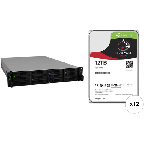Synology RackStation RS2418+ 144TB 12-Bay NAS Enclosure Kit with Seagate NAS Drives (12 x 12TB)