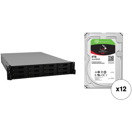 Synology RackStation RS2418+ 96TB 12-Bay NAS Enclosure Kit with Seagate NAS Drives (12 x 8TB)