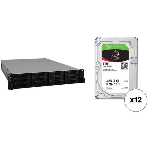 Synology RackStation RS2418RP+ 72TB 12-Bay NAS Enclosure Kit with Seagate NAS Drives (12 x 6TB)