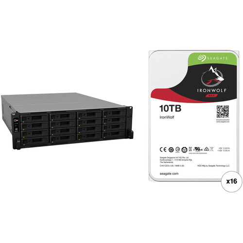 Synology RackStation RS2818RP+ 160TB 16-Bay NAS Enclosure Kit with Seagate NAS Drives (16 x 10TB)