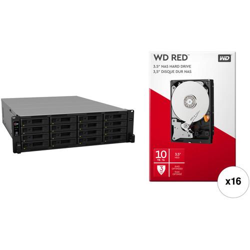 Synology RackStation RS2818RP+ 160TB 16-Bay NAS Enclosure Kit with WD NAS Drives (16 x 10TB)