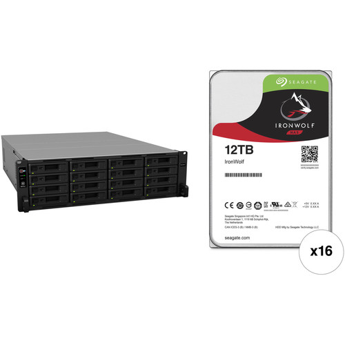 Synology RackStation RS2818RP+ 192TB 16-Bay NAS Enclosure Kit with Seagate NAS Drives (16 x 12TB)