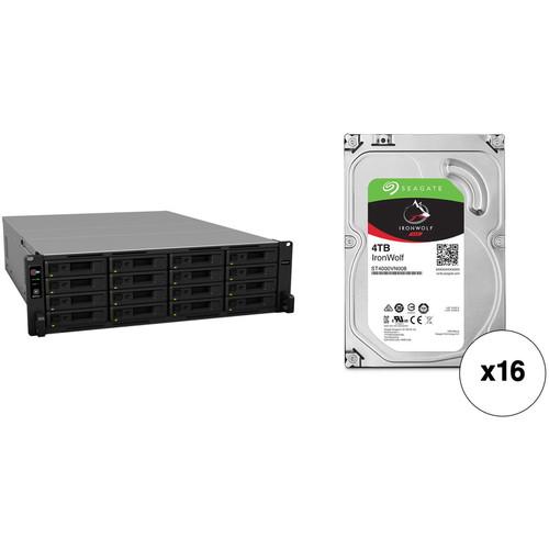 Synology RackStation RS2818RP+ 64TB 16-Bay NAS Enclosure Kit with Seagate NAS Drives (16 x 4TB)