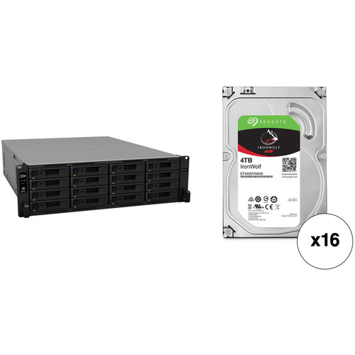 Synology RackStation RS2818RP+ 64TB 16-Bay NAS Enclosure Kit with Seagate NAS Drives (16 x 4TB)