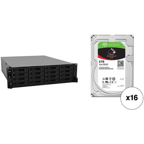Synology RackStation RS2818RP+ 96TB 16-Bay NAS Enclosure Kit with Seagate NAS Drives (16 x 6TB)