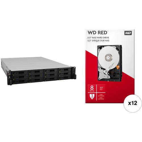 Synology RackStation RS3617RPxs 96TB 12-Bay NAS Enclosure Kit with WD NAS Drives (12 x 8TB)