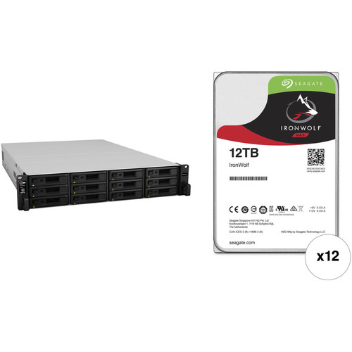 Synology RackStation RS3617xs+ 144TB 12-Bay NAS Enclosure Kit with Seagate NAS Drives (12 x 12TB)
