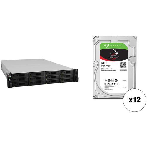 Synology RackStation RS3617xs+ 72TB 12-Bay NAS Enclosure Kit with Seagate NAS Drives (12 x 6TB)