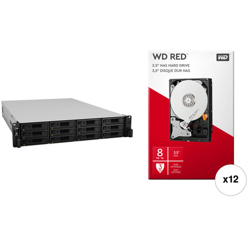 Synology RackStation RS3617xs+ 96TB 12-Bay NAS Enclosure Kit with WD NAS Drives (12 x 8TB)